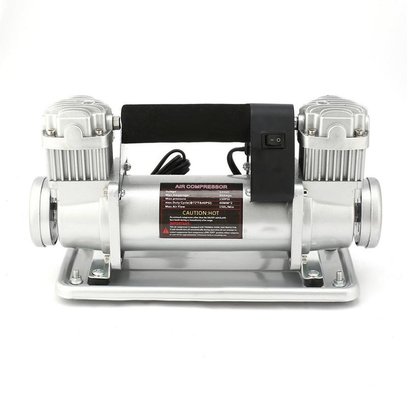 JM-F140 24 فولت/12 فولت معدن مزدوج اسطوانة مضخة هواء 480 واط عالية الطاقة سيارة مضخة هواء ارتفاع مضخة ضغط 150-200PSI ضغط الهواء