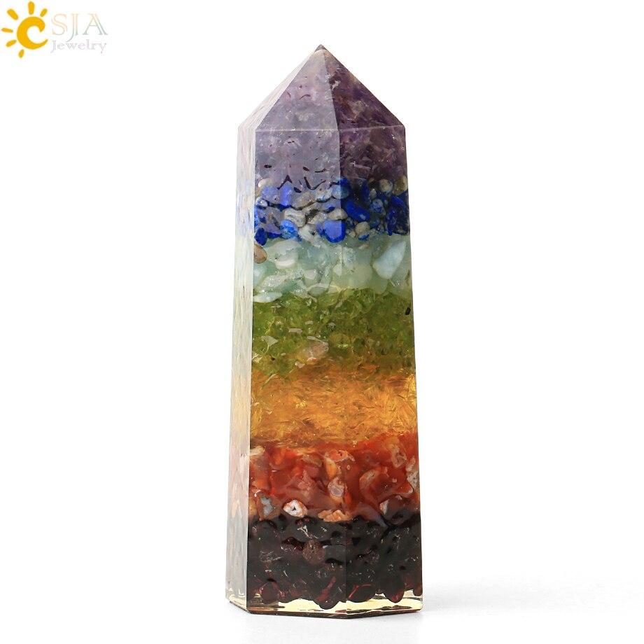 Csja chakra natural cascalho decoração hexagonal coluna 90mm facetado prisma reiki cristal meditação espécime estatueta decoração g426