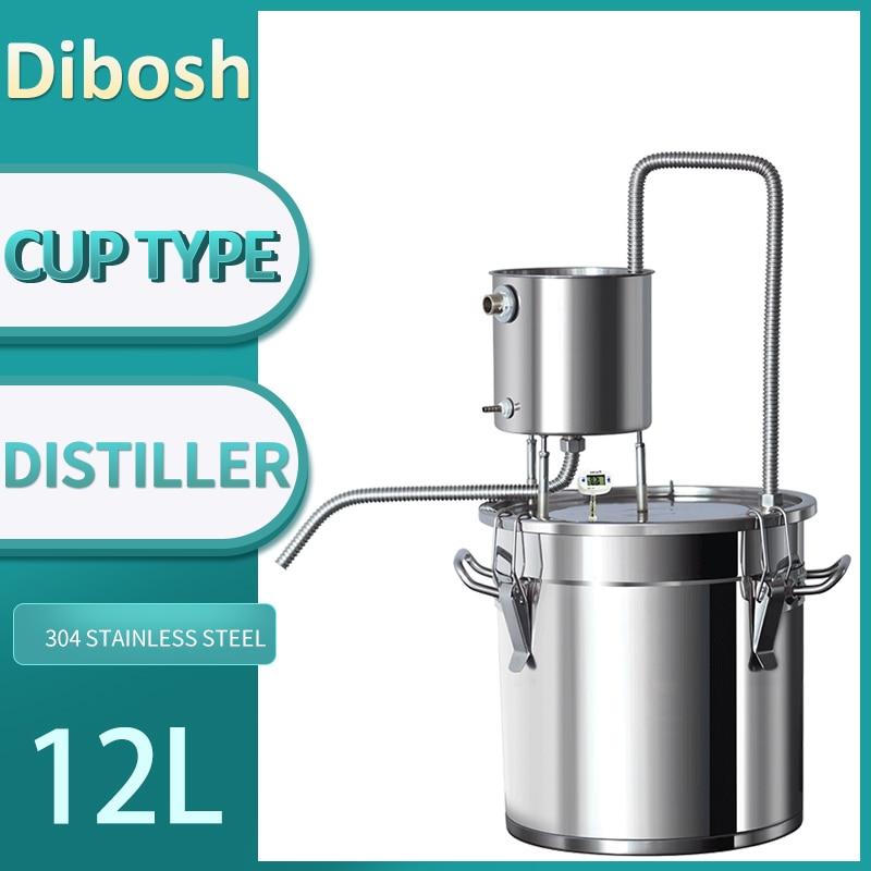 Destilador de vasos de agua de 12L, pequeño equipo de elaboración de cerveza, whisky, brandy, vodka, máquina de elaboración de cerveza de acero inoxidable 304, destilación Moonshine