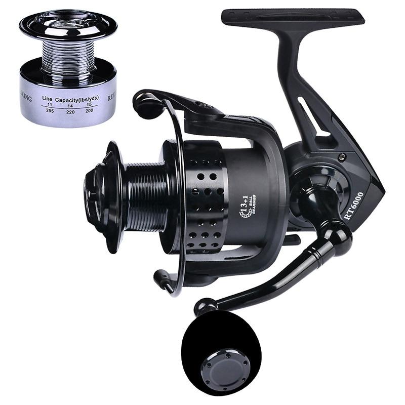 Carrete de pesca Baitcasting Spinning 13 + 1BB fuerza magnética súper fuerte Ratio de velocidad 501 carrete de pesca de fundición de Metal angeln