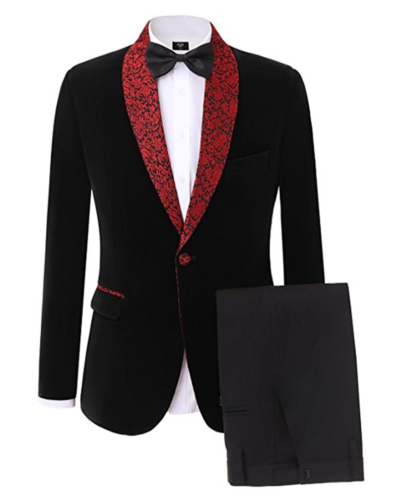 Handsome Velveteen Groomsmen Shawl Lapel Groom Tuxedos  Men Suits Wedding/Prom/Dinner Best Blazer(Jacket+Pants+Tie) 080