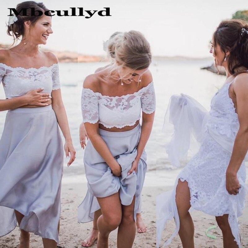 Mbcullyd vestido longo da dama de honra 2020, linha de renda e saia de chiffon vestido de casamento convidado duas peças