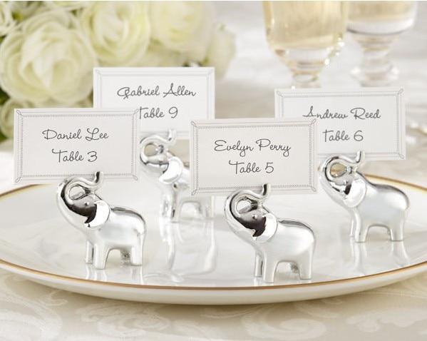 (10 قطعة/الوحدة) شحن مجاني + محظوظ الفضة الفيل مكان بطاقة حامل/صور حامل الزفاف و الزفاف دش الحسنات و هدية للضيف