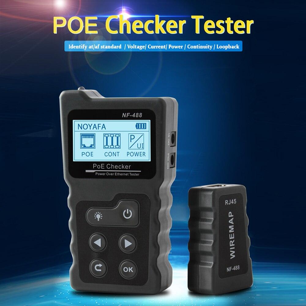 NF-488 כבל רשת בוחן PoE Tester בודק על Ethernet cat5 cat6 Lan tester רשת כלים PoE מתג בדיקת כבל tester