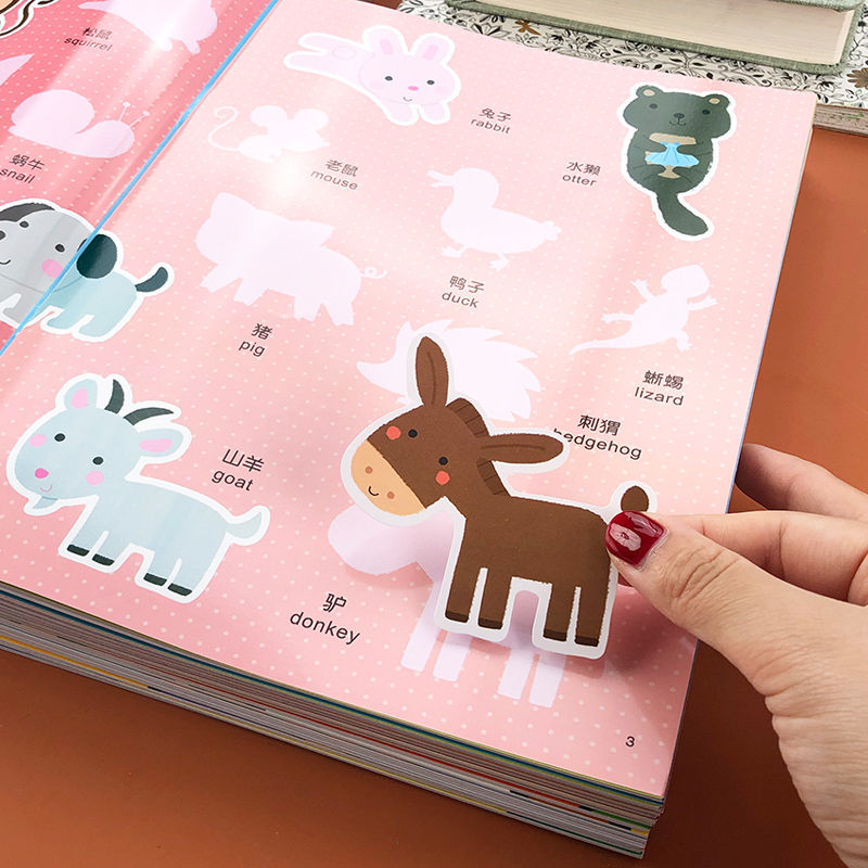 Sticker Bilingual cognition Book Children's Early Education Click To Read Book Picture English Original Story Book Sticker Book