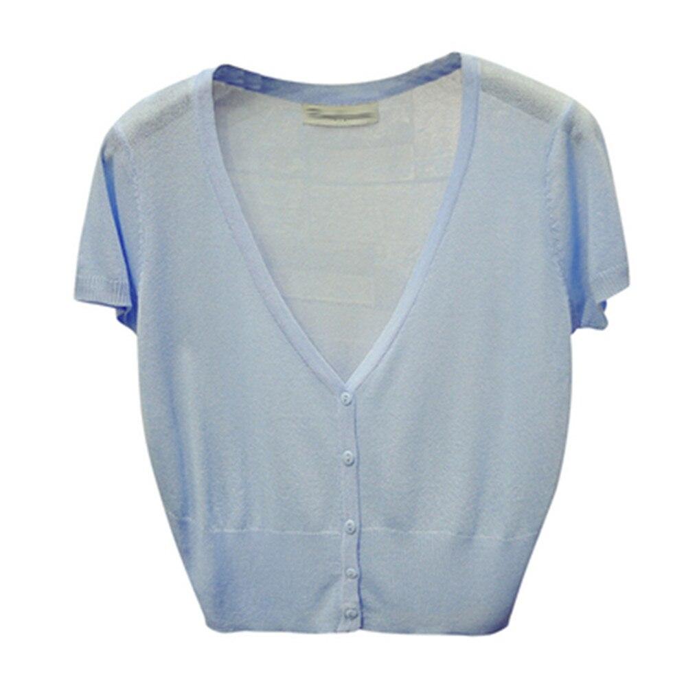M-XL de moda coreana para verano y primavera, suéteres holgados informales de punto con cuello de pico, cárdigans de manga corta para mujer, prendas de vestir tejidas Z3284