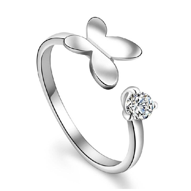Silber Überzogene Schmetterling Ring Ein Herz Ein Flügel Schmetterling Ringe Für Frauen Schmuck Exquisite Zirkon Koreanische Ring Schmuck Anel