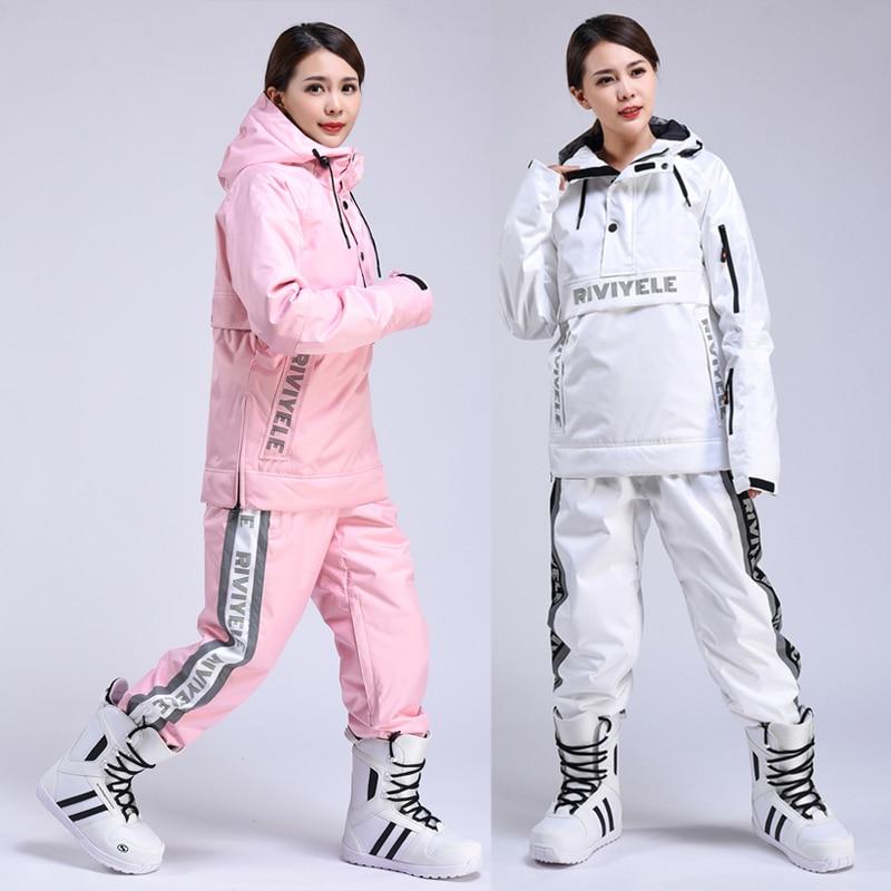 النساء تزلج دعوى تنفس الدافئة الشتاء الرياضة يندبروف سترة مضادة للماء بناطيل تزلج المرأة التزلج هوديي مجموعة التزلج على الجليد الدعاوى