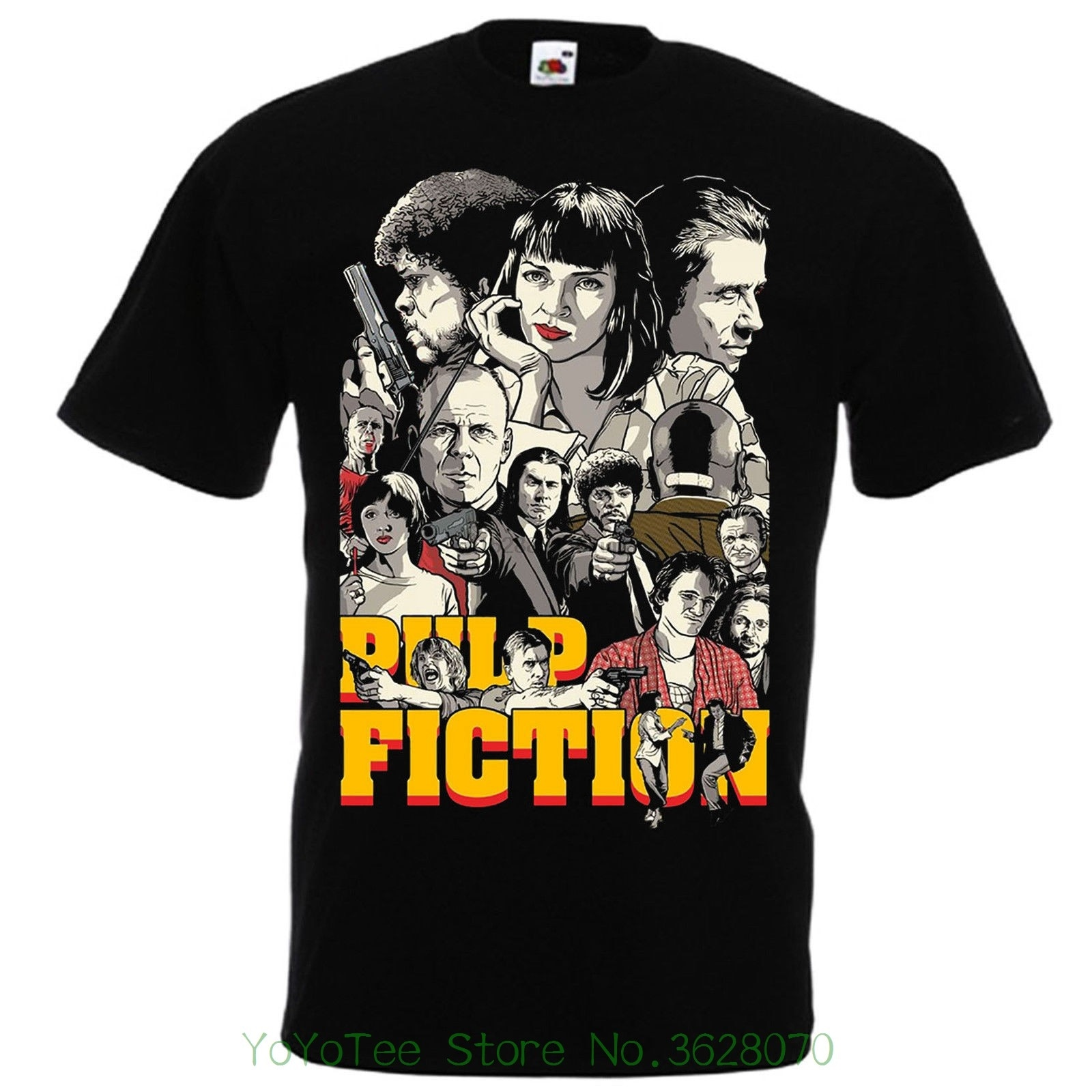 Camisetas de moda ajustada cuello redondo Pulp Fiction negro camiseta Quentin Tarantino #039 94 John Travolta Sam L. Jackson