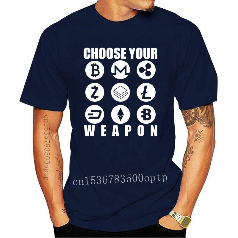 New Men t shirt Choose Your Weapon Currency Coin Bitcoin Litecoin Ethereum t-shirt novelty tshirt women