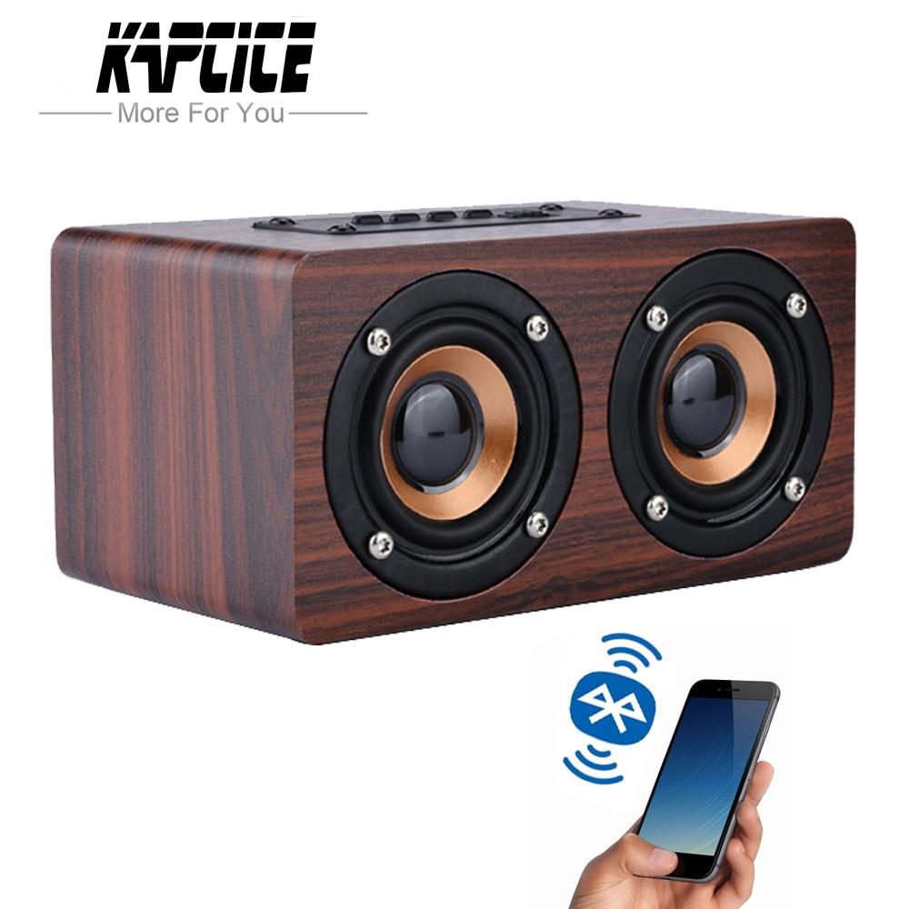 KAPCICE-Altavoz inalámbrico de madera, barra de sonido Portátil con Bluetooth, HiFi, bajos...