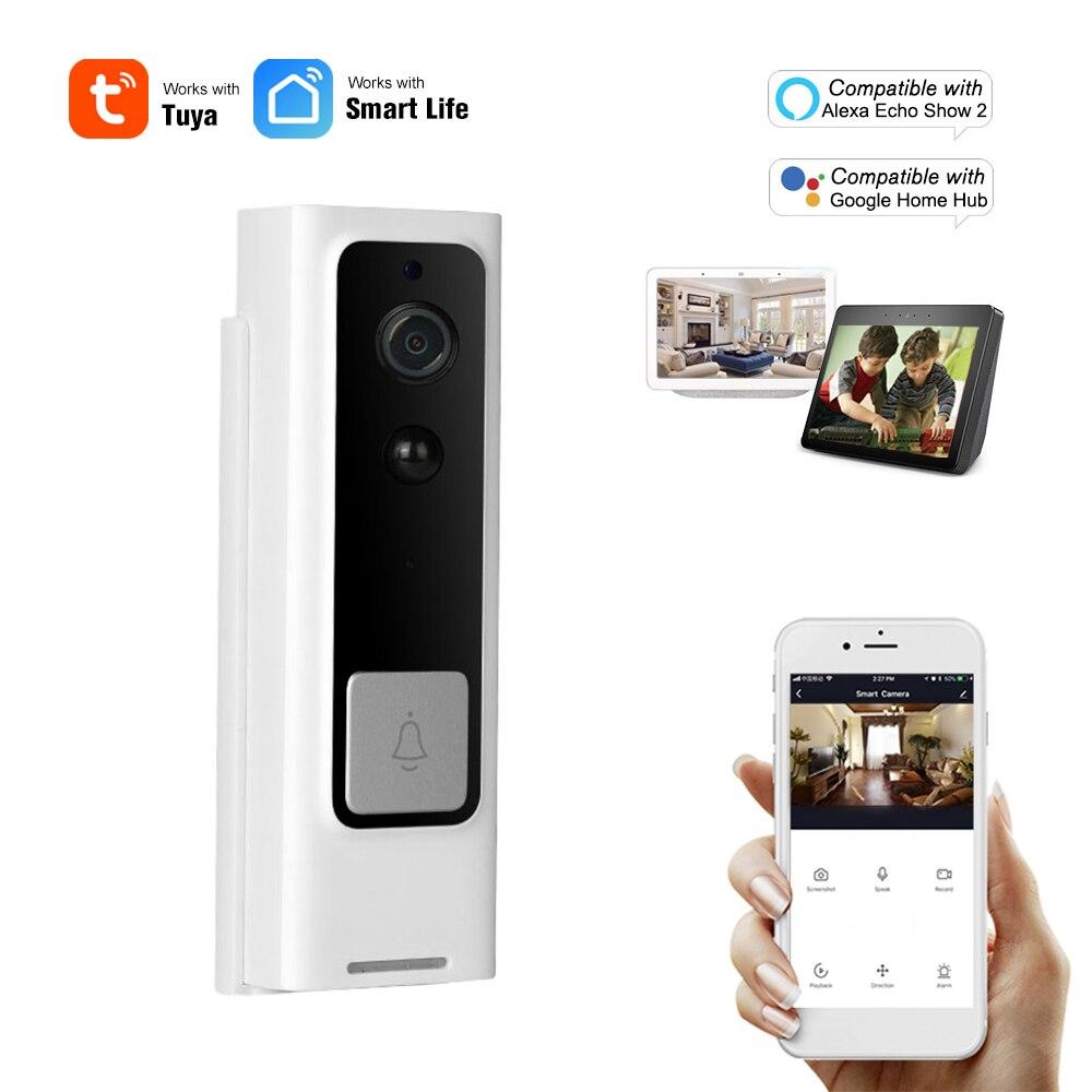 Timbre de seguridad inteligente WiFi 1080P inalámbrico intercomunicador Visual grabación Video puerta teléfono PIR Detector de movimiento a prueba de lluvia Tuya Smart