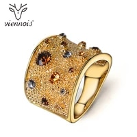 viennois fashion rings for women gold color crystal wedding rings rhinestone finger ring trend jewelry engagement party gifts