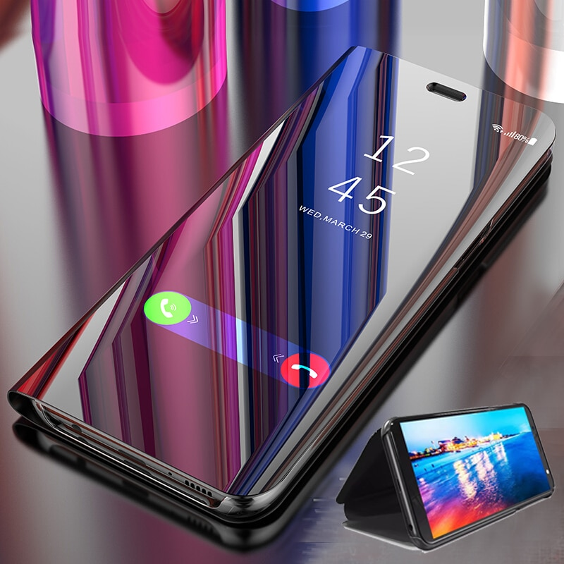 "Fundas de espejo inteligente enchapado de lujo para Samsung Galaxy A20E 5,84 ""funda protectora trasera de teléfono con Tapa de cuero SamsungA20E galaya20e"