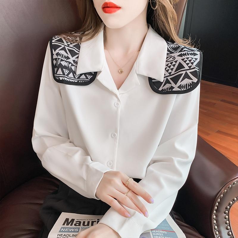 بلوزة بتصميم كوري موديل 2021 بأكمام طويلة وياقة مقلوبة قميص نسائي أنيق من الشيفون ملابس علوية كلاسيكية على الموضة للسيدات