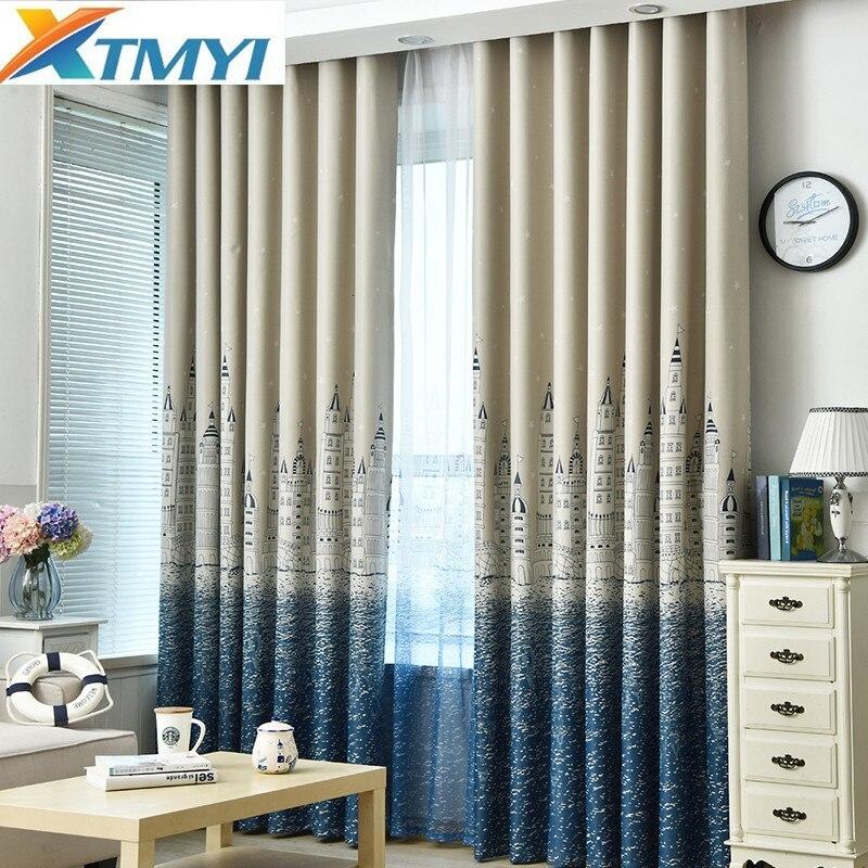 XTMYI Blackout Bule Curtain for Living Room Children Bedroom Cartoon Castle Printed Curtain Christmas Decoration Curtains Cloth