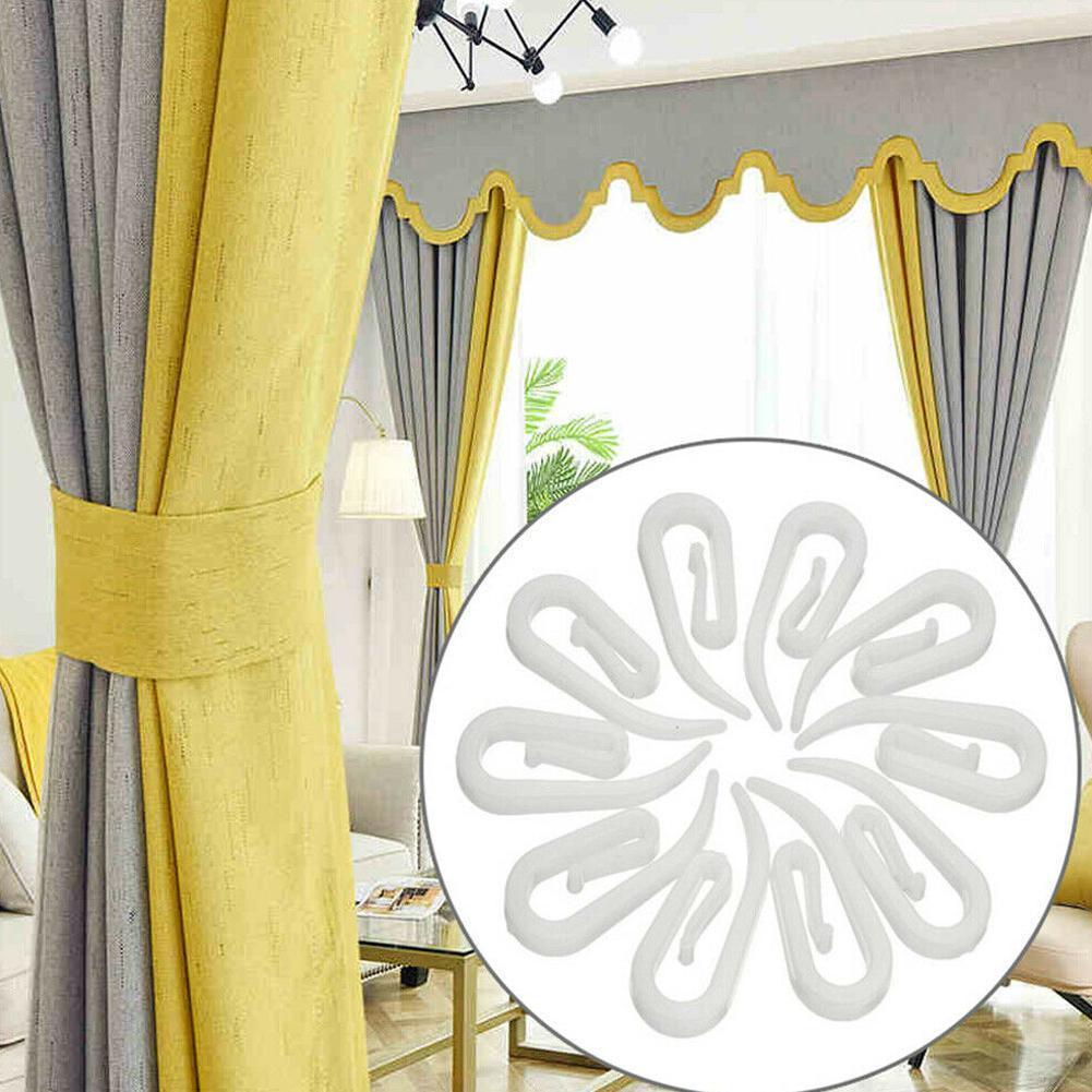 100 pçs/saco branco pendurado cortina ganchos prático cortinas fita plástico planadores branco conjunto acessórios