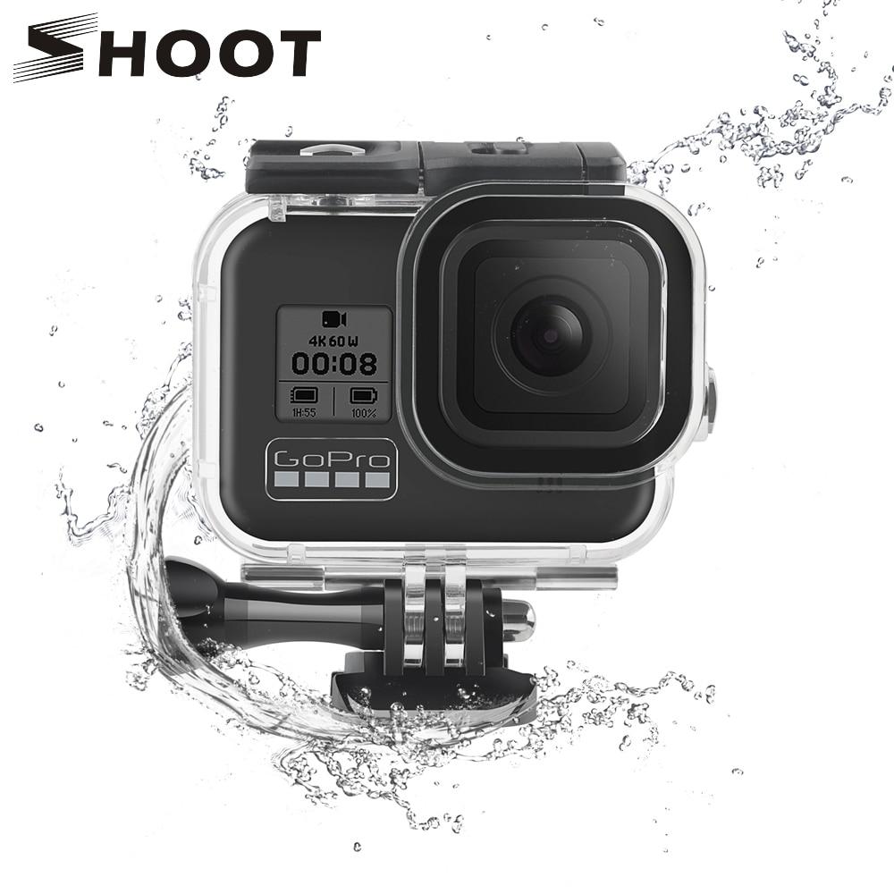 Atirar 60m subaquática à prova dunderwater água caso habitação para gopro hero 8 câmera preta mergulho capa protetora para go pro 8 acessórios