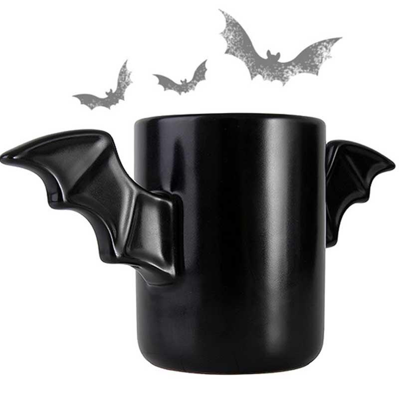 Tazas de cerámica de Batman con asa de ala de personalidad, taza de café de leche negra, regalo de Halloween, termo, taza de agua, Bar de cocina, Vasos