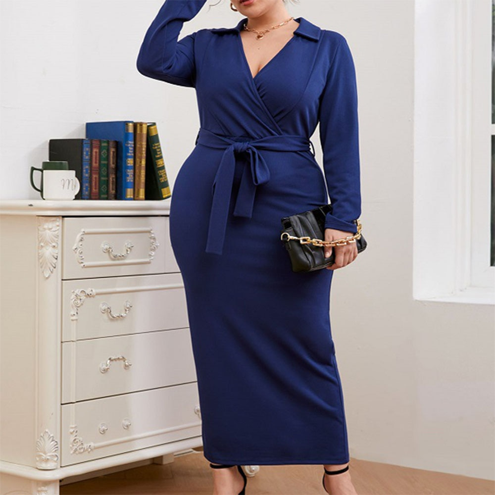 2021 New Plus Size Women's Clothing Europe America Knit Dress Solid Color V-neck High Waist Long Sleeve African Temperament