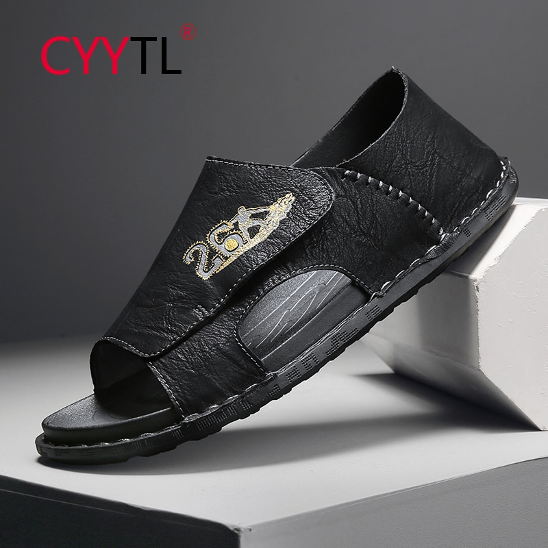 CYYTL Men's Leather Sandals Outdoor Beach Open Toe Slippers Soft Slip on Sport Hand Stitching Summer Breathable Shoes Claquette