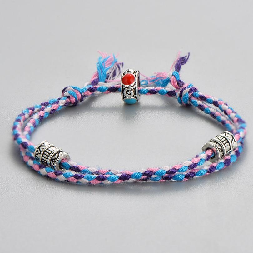 Pulseira retrô nepal, contas charme para mulheres e homens, corda étnica, tecido, pulseiras, ajustável, joia no atacado