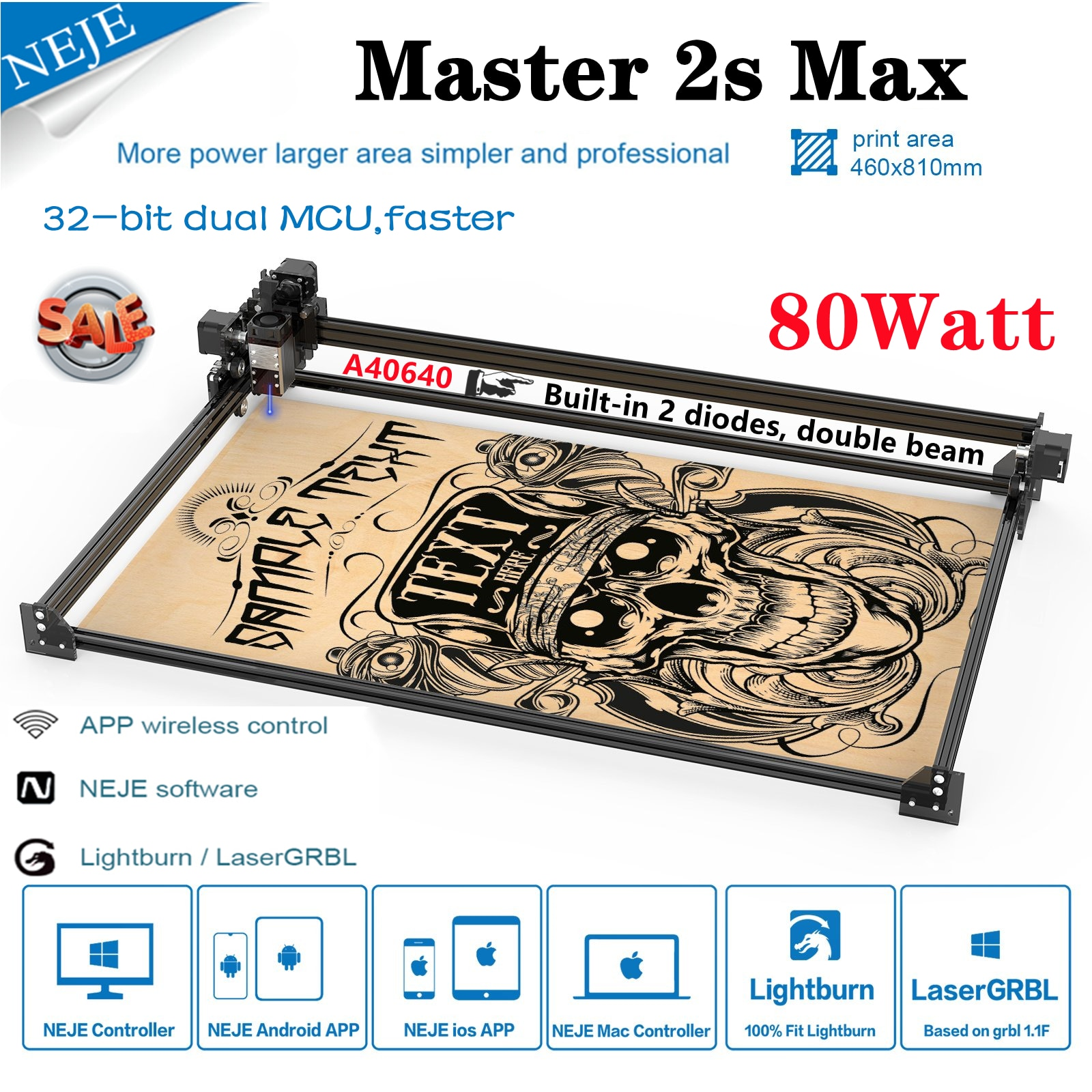 NEJE Master 2s Max 80W 2 Diodes CNC Router Laser Wood Engraver Cutting Cutter Lightburn LaserGRBL Bluetooth App Control Printer