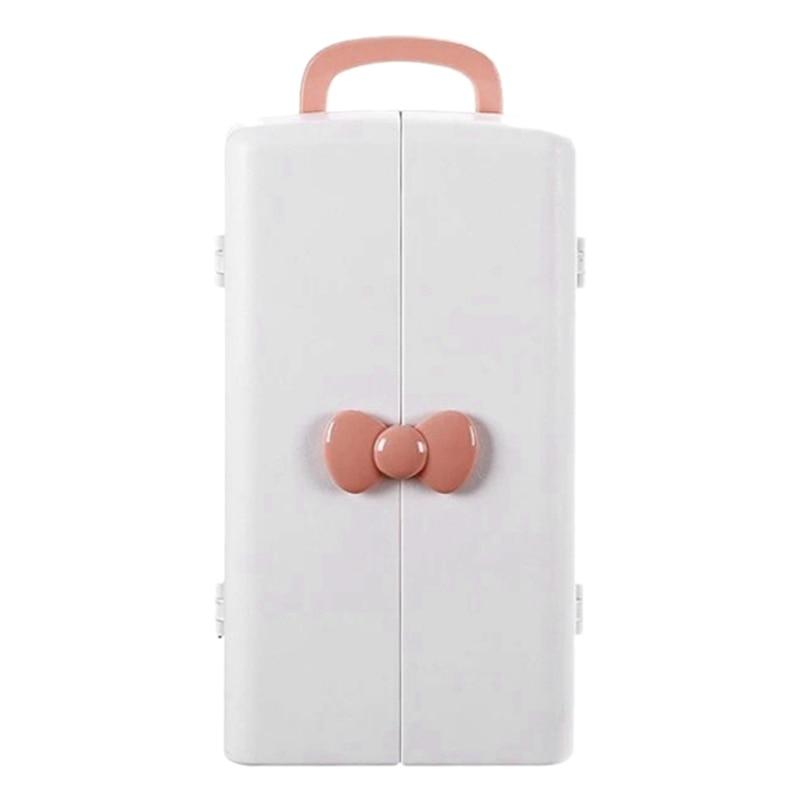 صندوق تخزين مستحضرات التجميل الوردي ، طاولة الزينة المنزلية ، خزانة التخزين ، سعة كبيرة ، منتجات العناية بالبشرة ، عرض خاص