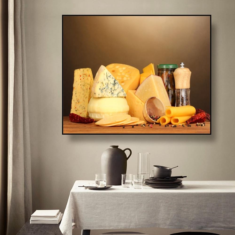 Laeacco cocina queso lienzo de bodegón pintura caligrafía carteles impresiones para comedor Pared de habitación fotos casa decoración arte