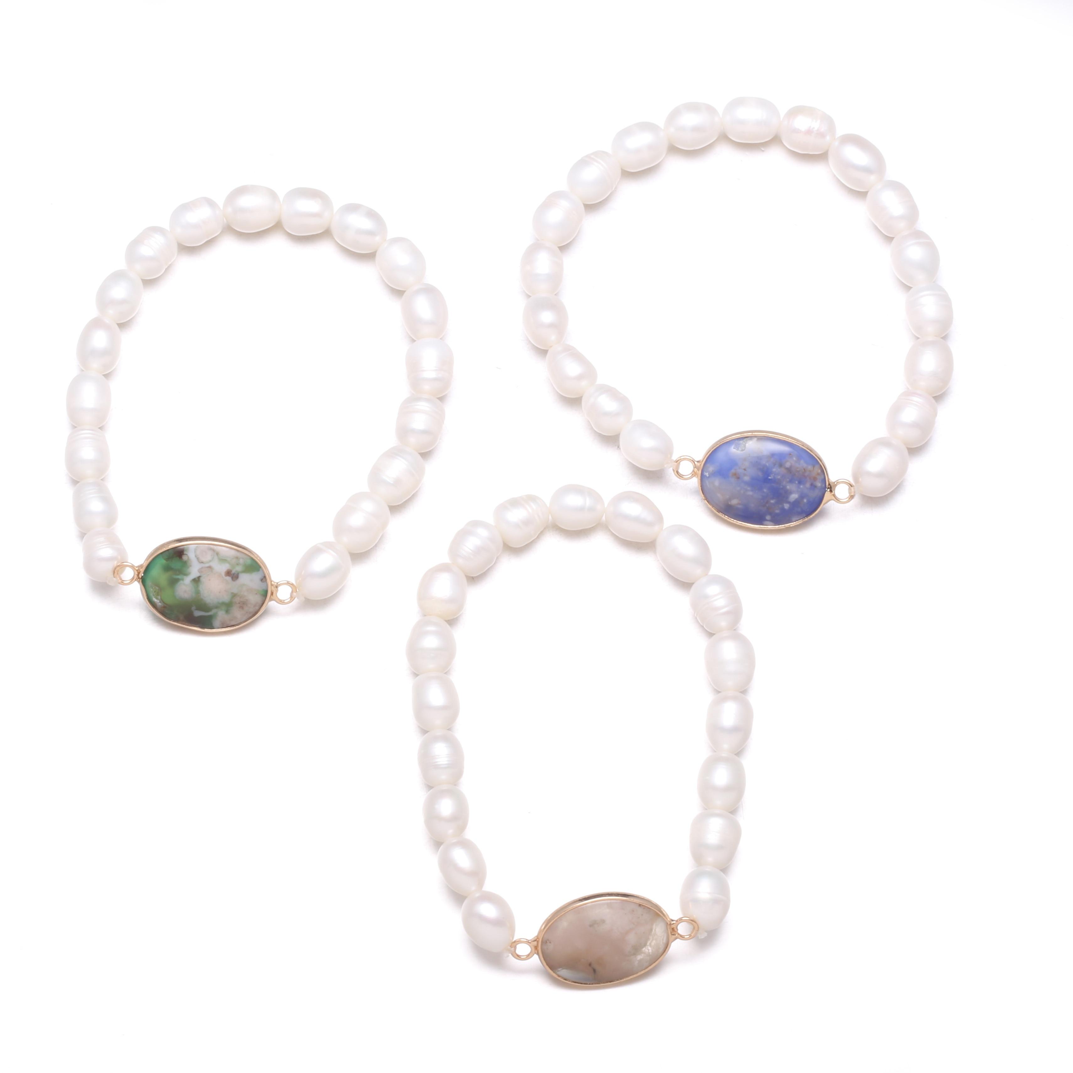 Regalo favorito de las muchachas convergentes de la piedra de la Pulsera de Perlas Naturales para los regalos del aniversario del encanto de las mujeres tamaño 19cm