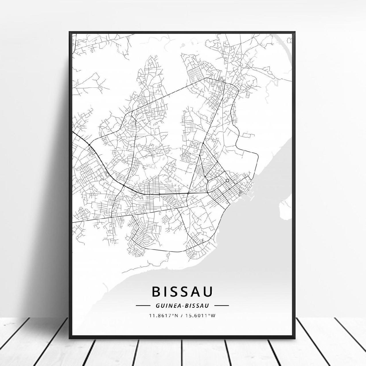 Schwarz und Weiß Bissau Guinea Bissau Weiß Breite Länge Leinwand Kunst Karte Poster