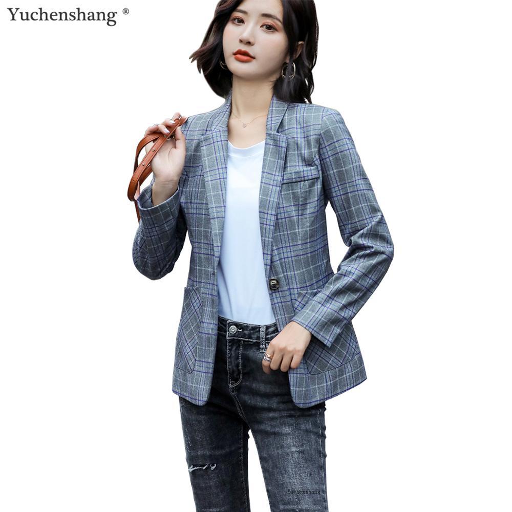 2019 New Fall Winter Blazer Fashion Full Sleeve Plaid Jacket High Quality Feminine Outwear Coat S-4XL