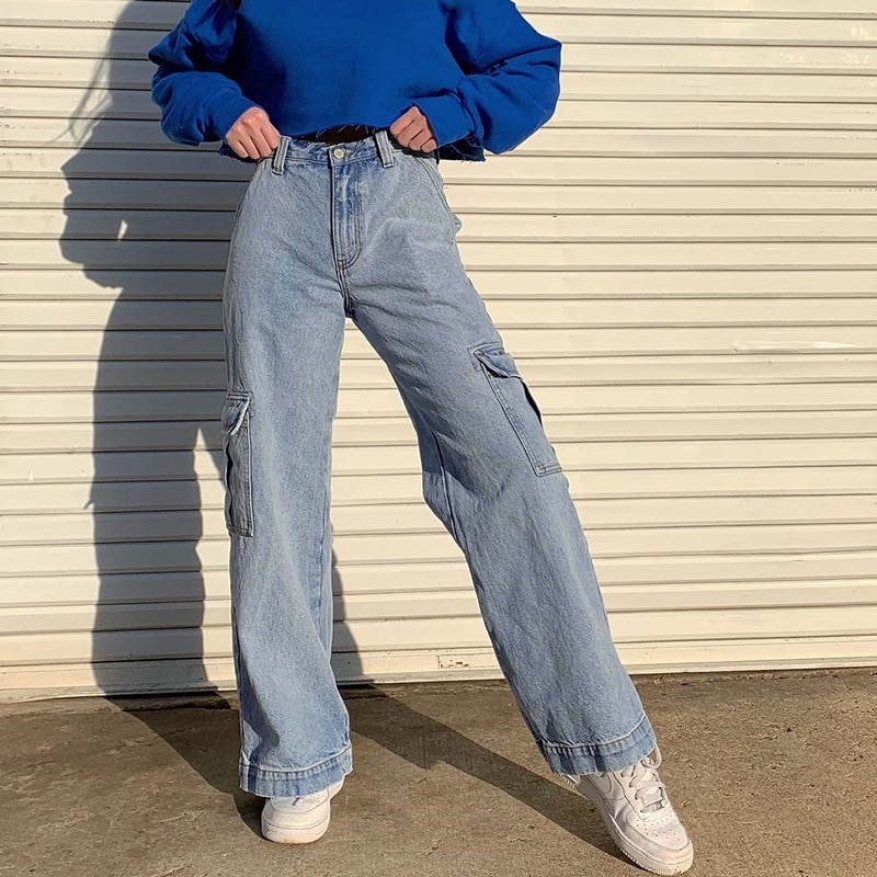 High Waist Pockets Jeans Women Blue Cotton Cargo Pants Streetwear Straight Casual Denim Clothing Sum