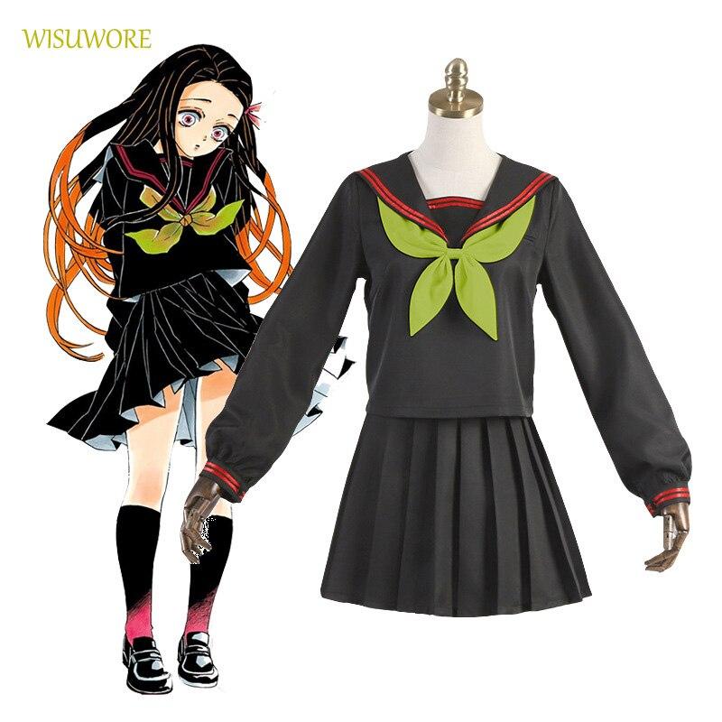 Anime Dämon Slayer Kamado Nezuko Cosplay Kostüm JK Uniform Anzug Sailor Anzug Top + Rock + Socken + Fliege