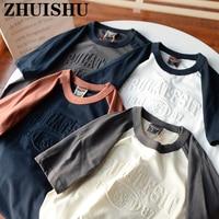 2021 Summer T Shirts Men Shirt Arm Stitching Retro Creative 3D Lettering COTTON Harajuku Oversized T-Shirt Men Clothing Tee