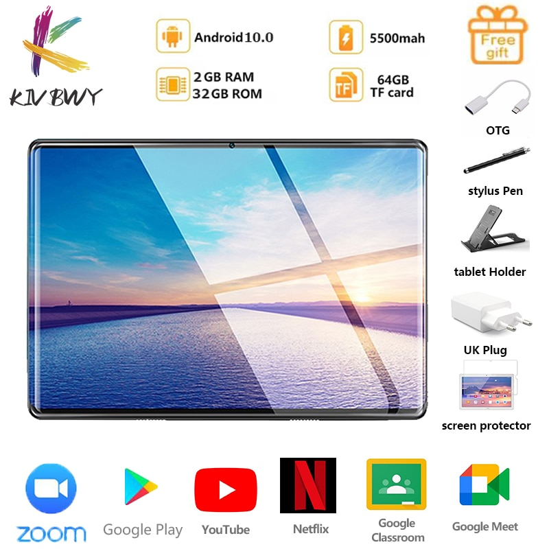 New Tablet Pc 10.1 inch Android 10.0 Tablets Octa Core Google Play ZOOM 3g 4g LTE Phone Call GPS WiFi Bluetooth Tempered Glass