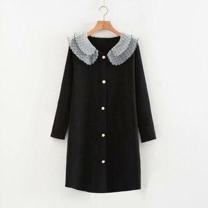 Plus Size Black Green Women's Knitted Dress Polka Dot Mini Casual Dresses women dress  sweater dress