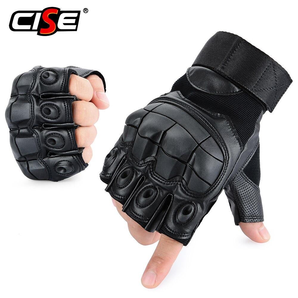 Touch Screen PU Leather Motorcycle Half Finger Glove Motorbike Motocross Moto Hard Fingerless Riding Biker Protective Gear