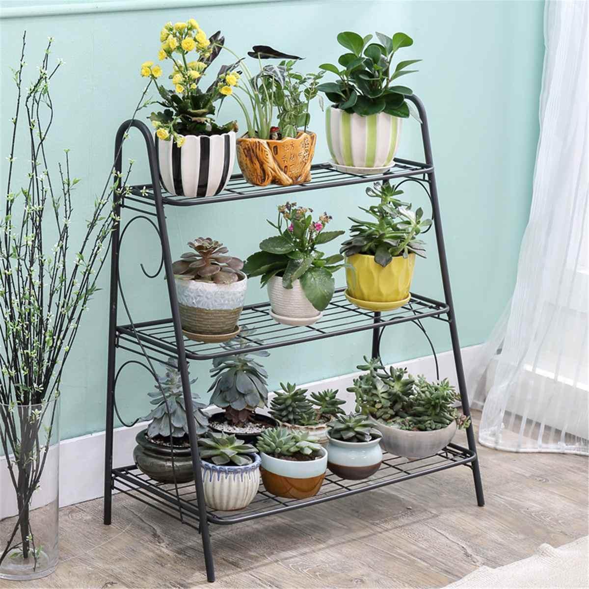 Estante de 3 niveles para zapatos, organizador de Metal de hierro, estante de almacenamiento, soporte organizador para el hogar, maceta de flores, estante de decoración de jardín, estantes ensamblados