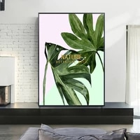 nordic canvas painting green plant leaf poster and print for living room bedroom pink wall art decorations pictures home decor