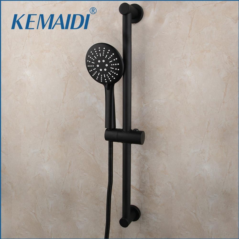 KEMAIDI-قضيب منزلق دش قابل للتعديل من الفولاذ المقاوم للصدأ ، مجموعة قضيب دش مع خرطوم SUS304 ، أسود
