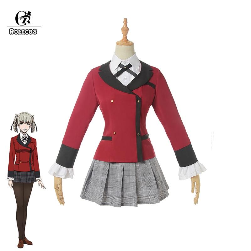Disfraz de Cosplay de ROLECOS de Anime Kakegurui, temporada 2rd, disfraz de Kirari Momobami, uniforme escolar JK japonés para mujeres, disfraz de Cosplay