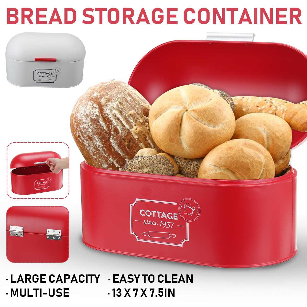 صندوق خبز الحديد المجلفن للمطبخ ، صندوق تخزين الخبز ، حامل تخزين الخبز الخبز ، 340x195x180mm