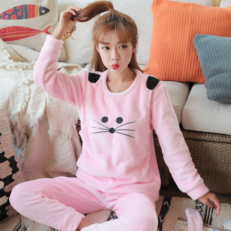 Pregnant Women Time of Childbirth Flannel Autumn & Winter wei nai yi Thickened Postpartum Nursing Clothes Tracksuit Pajamas Cora enlarge