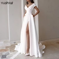 yilinhan 2021 fashion short sleeved v neck solid color dress mopping long skirt bridal dress with pockets woman dress