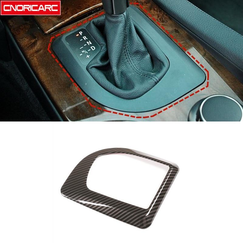Cubierta de marco decorativo cambio de marchas consola central Color de fibra de carbono embellecedor para BMW E60 5 Series 2004-2007 LHD diseño Interior de coche