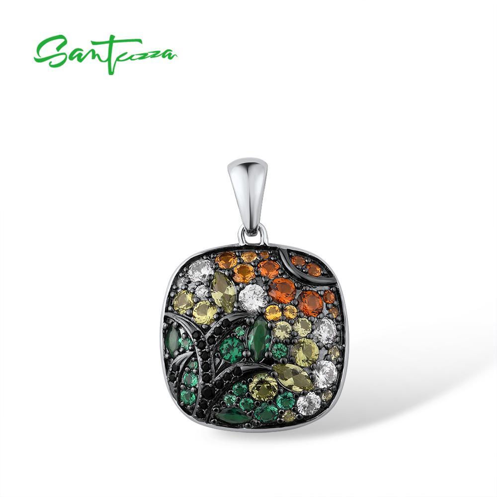 SANTUZZA-قلادة من الفضة الإسترليني عيار 925 مع أحجار ملونة متلألئة ، ومجوهرات مربعة كلاسيكية فاخرة ، للنساء
