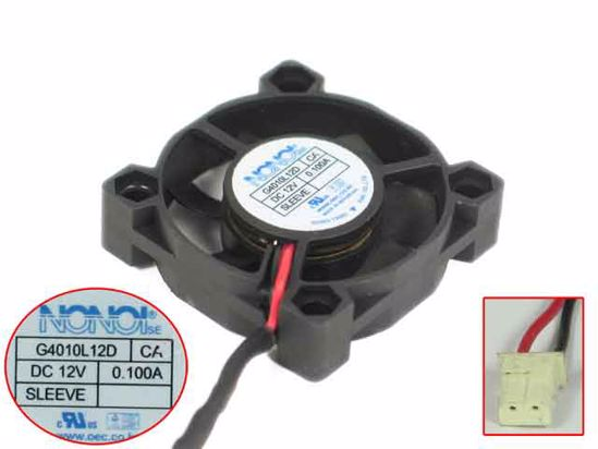 Emacro para ventilador de refrigeración de servidor NONOISE G4010L12D 12V 0.100A 40x40x10mm 2 cables