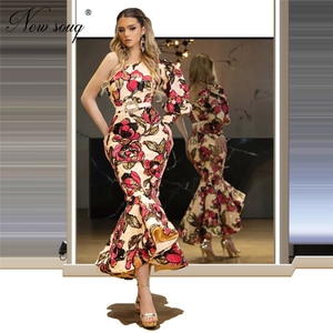 Embroidery Ankle Length Evening Dresses One Shoulder Middle East 2020 Turkish Robe De Soiree Single Sleeve Prom Dress Women Gown