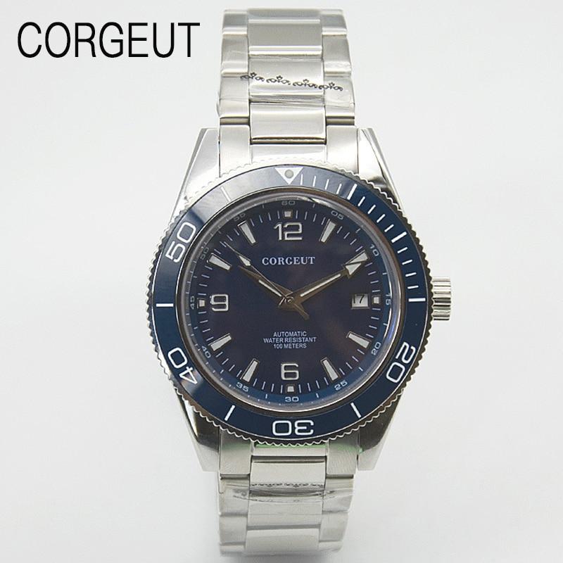 CORGEUT New Men Citizen Movement 100M Diving Mechanical Watch Stainless Steel Sapphire Glass Luminous Men Watch Reloj de hombre
